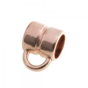 DQ metalen schuiver rond met oog rose gold 4x4mm (voor rond leer / koord tot 2mm)