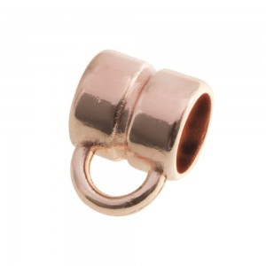 DQ metalen schuiver rond met oog rose gold 5x5mm (voor rond leer / koord tot 3mm)