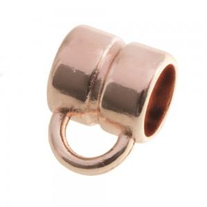 DQ metalen schuiver rond met oog rose gold 8x8mm (voor rond leer / koord tot 5mm)
