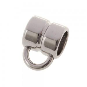 DQ metalen schuiver rond met oog zilver 5x5mm (voor rond leer / koord tot 3mm)
