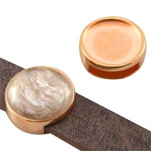 DQ metalen schuiver / slider rond rosé goud (voor polaris cabochon 12mm)