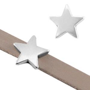 DQ metalen schuiver ster zilver 10mm (voor 5mm plat leer/koord)