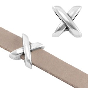 DQ metalen schuiver 'X' zilver 8x8x6mm (voor 5mm plat leer/koord)
