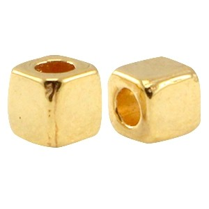 DQ metalen tube vierkant 3.8mm  goud (nikkelvrij)