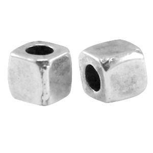 DQ metalen tube vierkant 3mm antiek zilver (nikkelvrij)