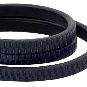DQ ovaal kabel leer (divino) met met streepjes motief 10x6mm dark blue per cm