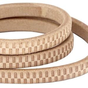 DQ ovaal kabel leer (divino) met met streepjes motief 10x6mm natural brown per cm