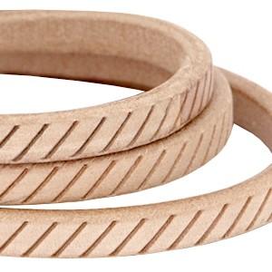 DQ ovaal kabel leer (divino) met motief 10x6mm natural brown per cm