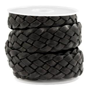 DQ plat gevlochten leer 20mm vintage black per 20cm