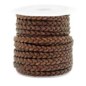 DQ plat gevlochten leer 5mm mauve brown per 20cm