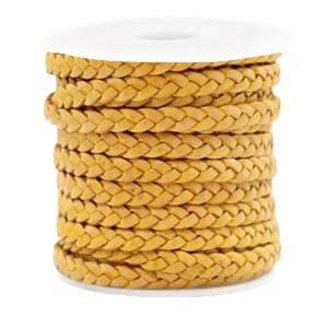 DQ plat gevlochten leer 5mm vintage golden yellow per 20cm