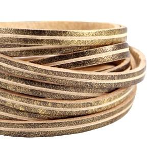 DQ plat leer 5mm antiek brons beige stripe per 20cm