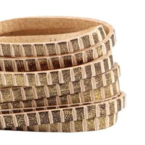 DQ plat leer 5mm antiek brons beige stripes per 20cm