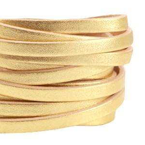 DQ plat leer 5mm goud beige per 20cm