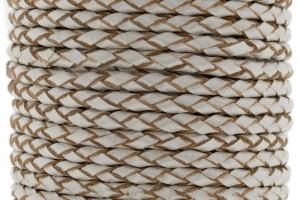 DQ rond gevlochten leer 3mm beige metallic per 20cm