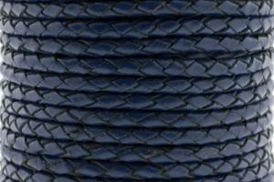 DQ rond gevlochten leer 4mm blauw per 20cm