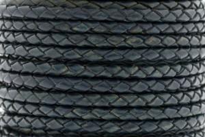 DQ rond gevlochten leer 4mm donker petrol blauw per 20cm