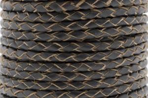 DQ rond gevlochten leer 4mm donker vintage grijs per 20cm