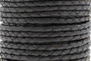 DQ rond gevlochten leer 4mm grijs per 20cm
