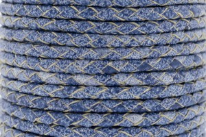 DQ rond gevlochten leer 4mm licht denim blue per 20cm