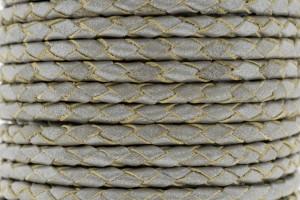 DQ rond gevlochten leer 4mm licht zilver metallic per 20cm