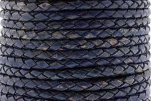 DQ rond gevlochten leer 4mm vintage donker blauw per 20cm