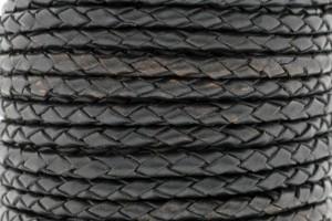 DQ rond gevlochten leer 4mm zwart metallic per 20cm