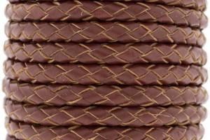 DQ rond gevlochten leer 5mm bruin rood per cm