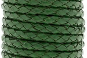 DQ rond gevlochten leer 5mm groen per cm