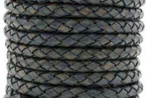 DQ rond gevlochten leer 5mm vintage blauw per cm