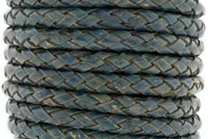 DQ rond gevlochten leer 5mm vintage blue per cm