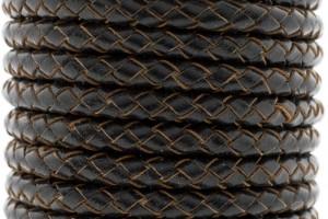 DQ rond gevlochten leer 5mm vintage zwart per cm