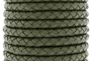 DQ rond gevlochten leer 6mm army green per cm