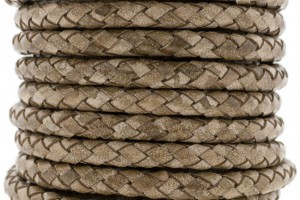 DQ rond gevlochten leer 6mm vintage bruin per cm