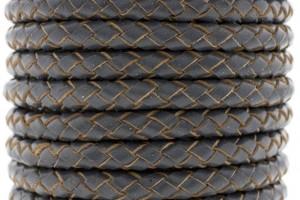 DQ rond gevlochten leer 6mm vintage grijs per cm