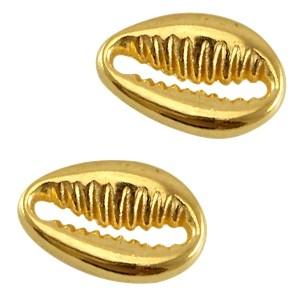 DQ tussenzetsel schelp 12x8mm goud