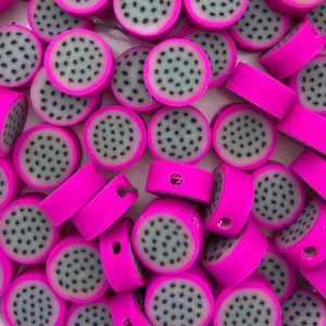 Dragon fruit kraal roze 11mm (per stuk)