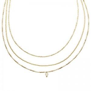 Dubbele ketting kralen Biba kleurenmix beige goudkleurig