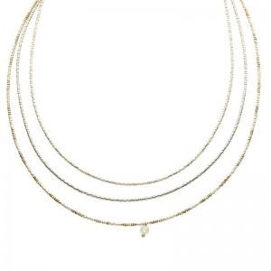 Dubbele ketting kralen Biba kleurenmix beige zilverkleurig