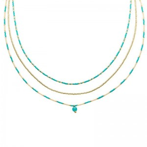 Dubbele ketting kralen Biba kleurenmix blauw 2 goudkleurig