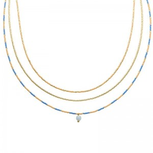 Dubbele ketting kralen Biba kleurenmix blauw goudkleurig