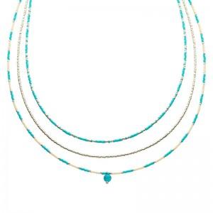 Dubbele ketting kralen Biba kleurenmix blauw zilverkleurig