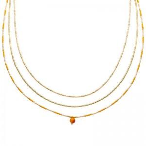 Dubbele ketting kralen Biba kleurenmix oranje goudkleurig