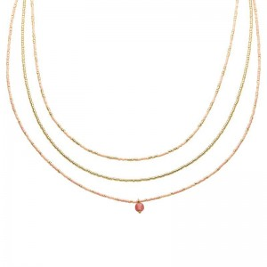Dubbele ketting kralen Biba kleurenmix roze goudkleurig