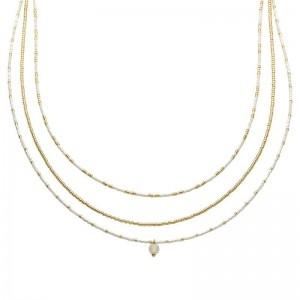 Dubbele ketting kralen Biba kleurenmix wit goudkleurig