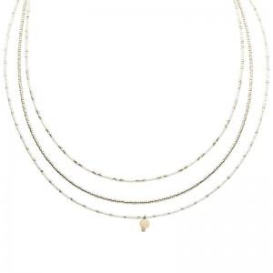Dubbele ketting kralen Biba kleurenmix wit zilverkleurig