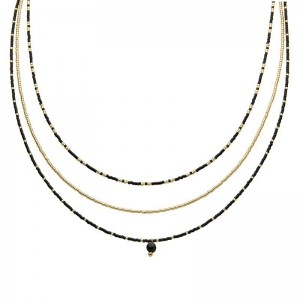 Dubbele ketting kralen Biba kleurenmix zwart goudkleurig