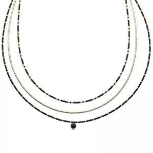 Dubbele ketting kralen Biba kleurenmix zwart zilverkleurig