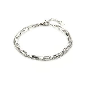 Dubbele schakelarmband stainless steel zilver (16+3cm)