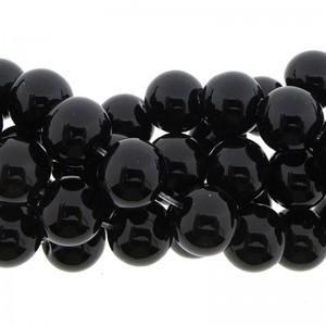 Edelsteen kraal agaat rond zwart 10mm